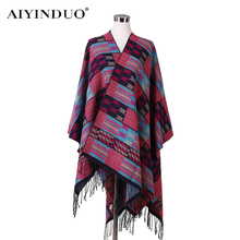 Women Autumn Winter Scarves Gradient Colorful Plaid Side Slit Blanket Scarf Tassel Shawl Poncho Wrap Tartan