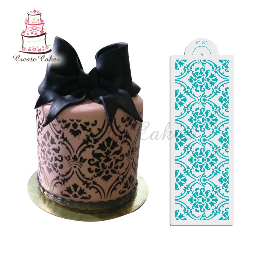 "4,25 ""H x 12,75"" W Royal Damask Cake Stencil Set # 4, Plast Konst Stencils, Cake Side Design Stencil, Cake Border Stencils Set"