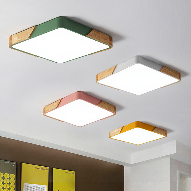 все цены на Nordic ceiling light solid wood living room ceiling lamp modern minimalist macarons study lamp square color bedroom lamps онлайн