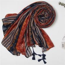 2019 Women African Ethnic nation Shawl Scarf Winter Plus Size Warm Wrap Pashmina Maroon Tassels Muslim Hijabs Sjaal 180*110Cm