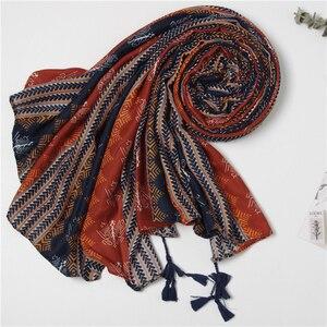 Image 1 - 2019 Women African Ethnic nation Shawl Scarf Winter Plus Size Warm Wrap Pashmina Maroon Tassels Muslim Hijabs Sjaal 180*110Cm