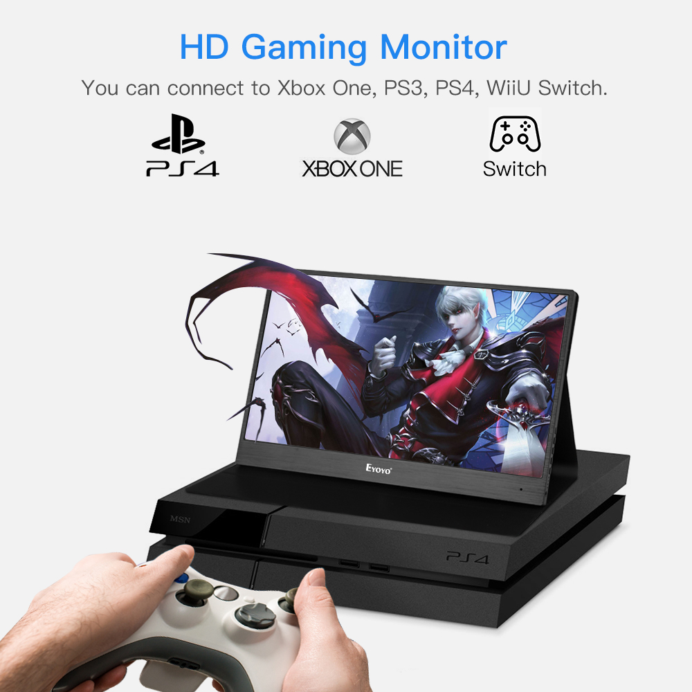 Eyoyo EM13J 13 3 quot 2540x1440 Portable PC Gaming Monitor IPS Game Monitor with 4K HDMI Input for Switch Raspberry Leather Stand in LCD Monitors from Computer amp Office