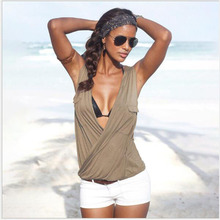 Women Summer 2019 Tshirt Fashion Casual Sleeveless Tops Tees Sexy Deep V Solid Beach T-Shirt Loose Plus Size 3XL Shirts