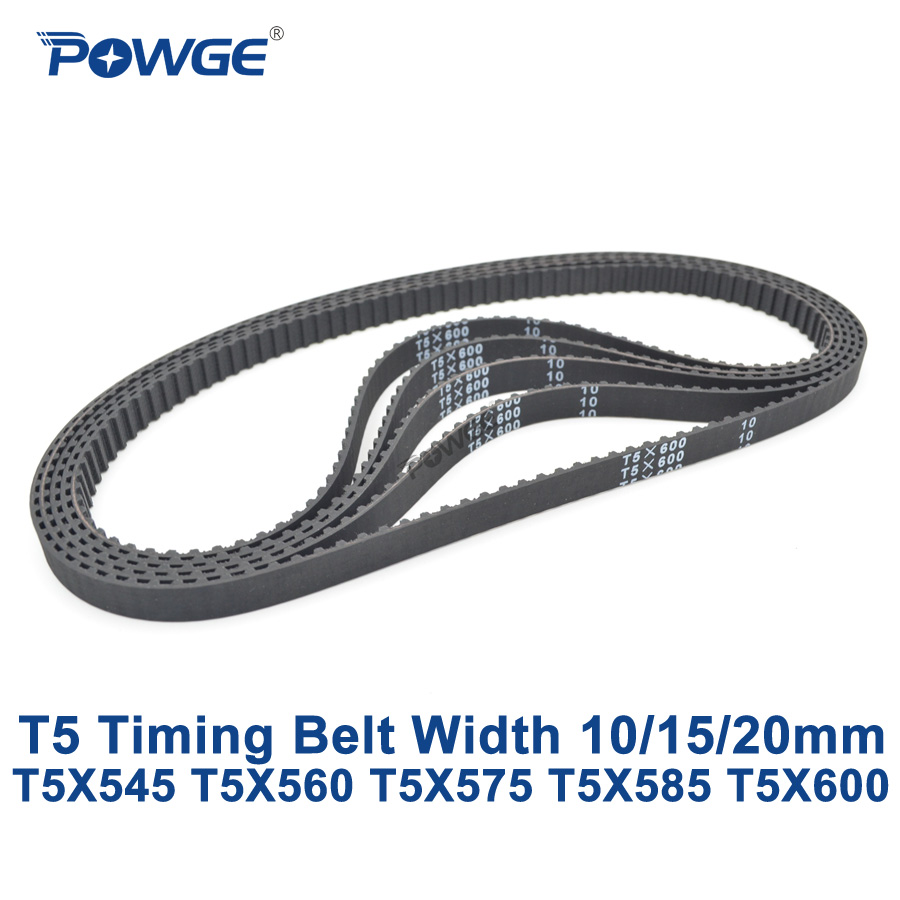 POWGE T5 Synchronous timing belt C=545/560/575/585/600 Width 10/15/20mm Teeth 109 112 115 117 120 Rubber T5X560 T5X585 T5X600POWGE T5 Synchronous timing belt C=545/560/575/585/600 Width 10/15/20mm Teeth 109 112 115 117 120 Rubber T5X560 T5X585 T5X600