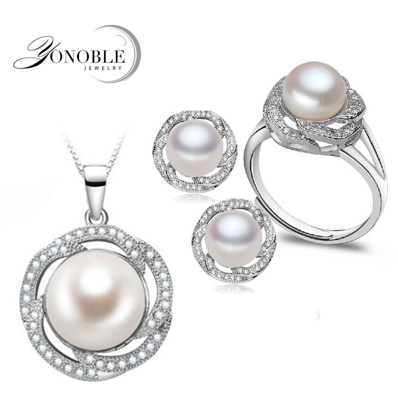 Wedding freshwater pearl jewelry sets women bridesmaid jewelry sets luxury natural pearl earrings sets ring fine jewelryWedding freshwater pearl jewelry sets women bridesmaid jewelry sets luxury natural pearl earrings sets ring fine jewelry
