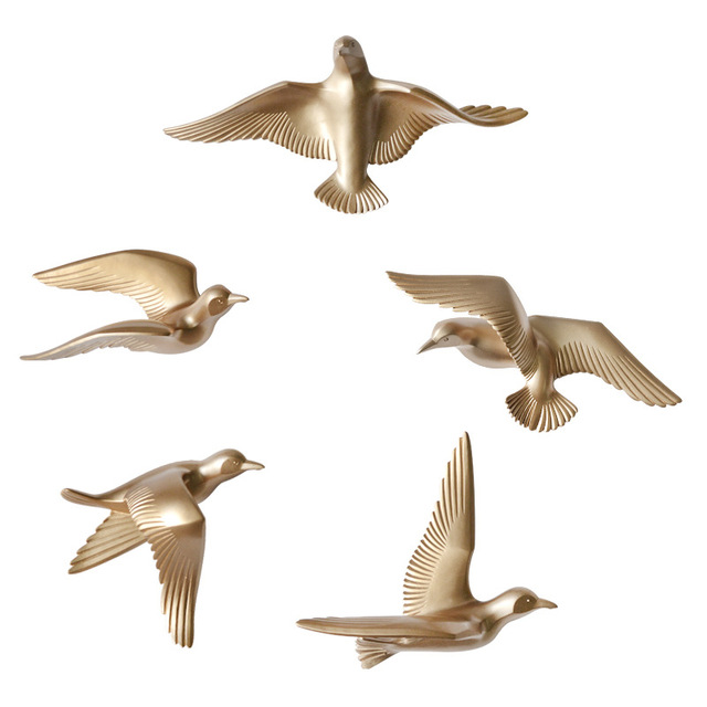 5pcs/set Creative 3D Resin bird Home Decoration decor wall stickers decoration Furnishings The dove of peace for European mascot 1