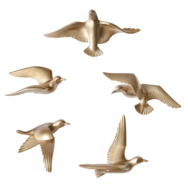 5pcs/set Creative 3D Resin Bird Home Decoration Decor Wall Stickers Decoration Furnishings The Dove Of Peace For European Mascot