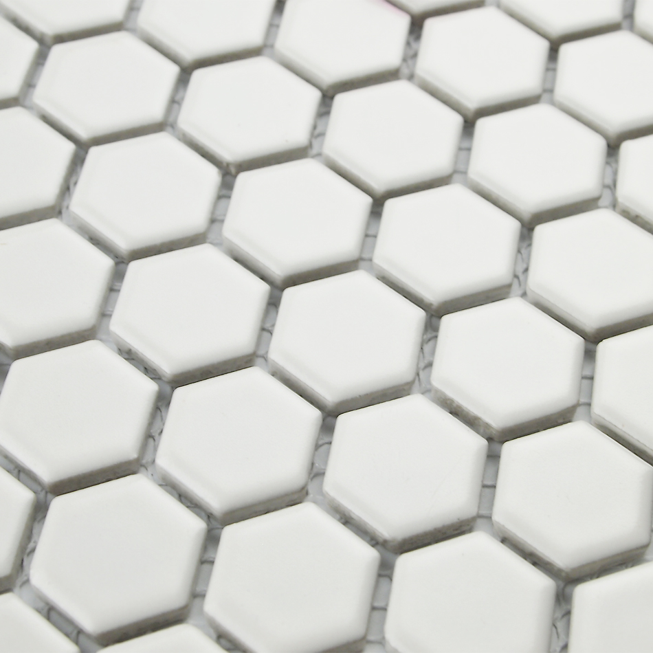 Classic White Color Hexagon Ceramic Mosaic Tiles Kitchen Backsplash