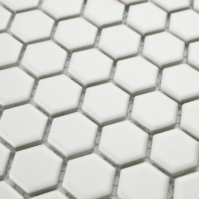 Online Shop Classic White Color Hexagon Ceramic Mosaic Tiles Kitchen