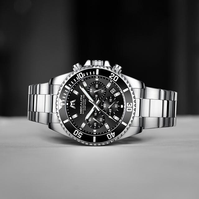 MEGALITH Luxury Mens Watches Sports Chronograph Waterproof Analog 24 Hour Date Quartz Watch Men Full Steel Wrist Watches Clock