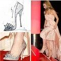 2016 novo estilo de moda Feminina de alta-pontas de salto alto sapatos de diamante sapatos de casamento tira sapatos sapatinho de cristal Mulheres bombas