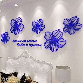 3d Three-dimensional Flower Stickers Acrylic Wall Stickers Bedroom Bedside Decoration Room TV Wall Stickers Wall Layout