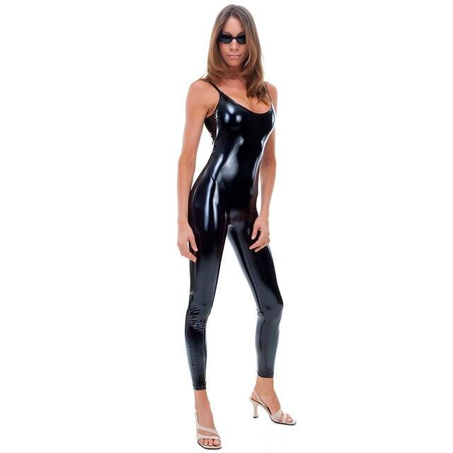 6a322c31c Wonder beauty Plus Size Vinyl Catsuit Bodysuit Women Sexy Black Leather  Shoulder Strap Sleeveless Long Jumpsuit Rompers Overalls