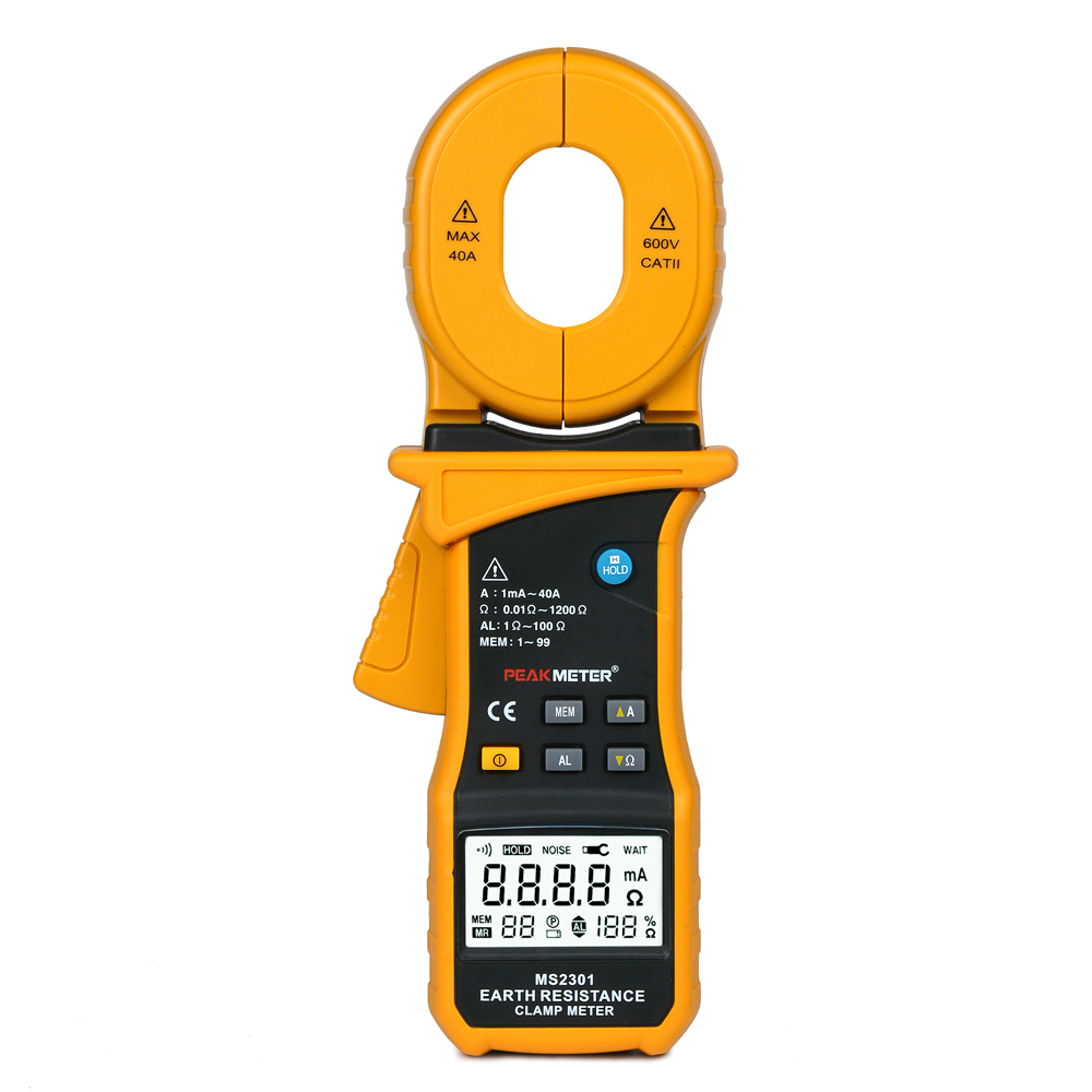 PEAKMETER MS2301 LCD Electrical Professional Multifunction High Sensitivity Clamp Earth Ground Resistance Insulation Tester
