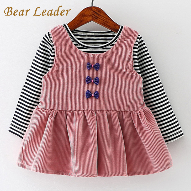Bear Leader Baby Girls Dress Black and White Stitching Sleeve Small Bow Princess Dress Children Clothing