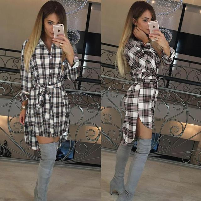 Women Blouses Long Sleeve Plaid Shirts Turn Down Collar Shirt Casual Tunic Feminine Irregular