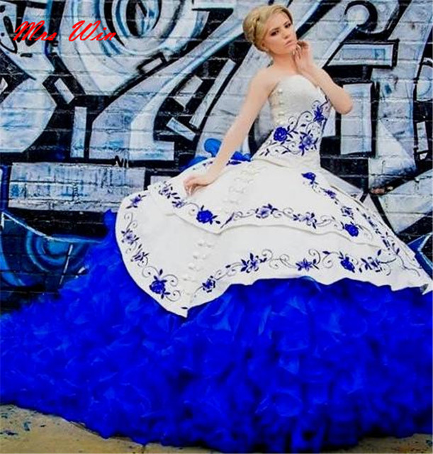 6016624974 2019 Royal Blue Sweetheart Floral Embroidery Quinceanera Dresses New Elegant  Sleeveless Organza Ball Gown Masquerade Vestido 15