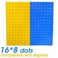 X2pcs Placa de Base Placa de Base de Tijolos de Brinquedo Crianças Partículas Exlarge Tijolo 25.5*12.5 cm 16*8 Pontos Sólidos Brinquedos Compatível Com Grande blocos