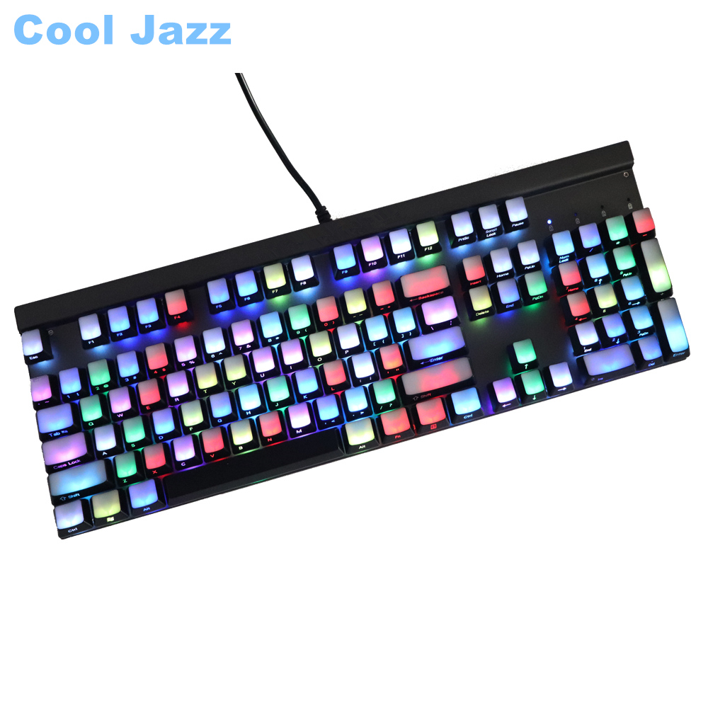 цена на Front/Side Printed Backlit Keycaps 104 ANSI layout Translucidus Backlit abs Keycaps For Cherry MX Switches Mechanical Keyboard