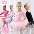 Niñas Juego de Los Niños de Manga Larga Vestido Del Funcionamiento Del Ballet Danza Femenina Trajes de Baile Niños Practicar Dancing Desgaste B-4666