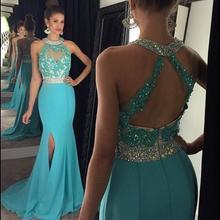 2016 Sexy Türkis Höhe Aufgeschlitzte Sexy Brautkleider Halter Kristall Appliques Blau Abendkleider Backless Celebrity Dress EE90