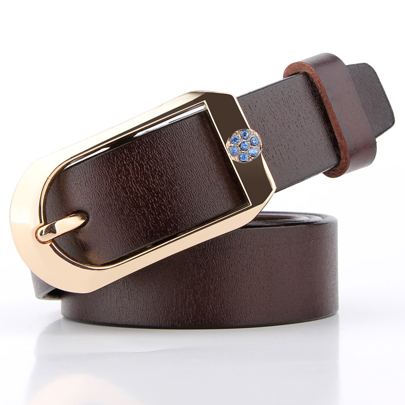 Badinka 2018 New Designer Black Red Brown 100% Genuine Leather Belts for Women Gold Buckle Jeans Waist Belts Cinturones Mujer
