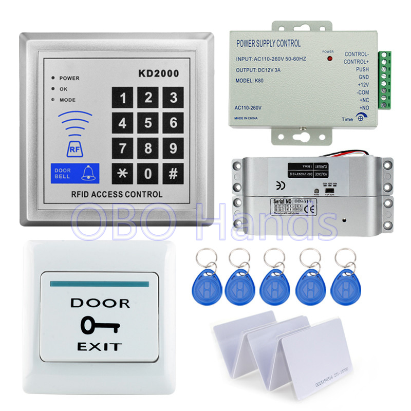 Hot sale full completed RFID card reader for door access control system kit KD2000+electric lock+power supply support 3000 users metal rfid em card reader ip68 waterproof metal standalone door lock access control system with keypad 2000 card users capacity