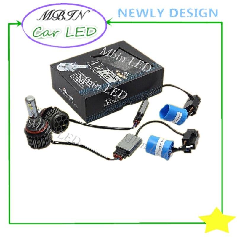 Turbo Universal Headlight Led String: Universal MBIN Hi/lo Beam V16 Turbo Kit 40W 4000lm 9004