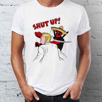 2018 top printed Men's T Shirt Shut Up President Trump Batman Deadpool One Punch Man Slaps Trup Tee