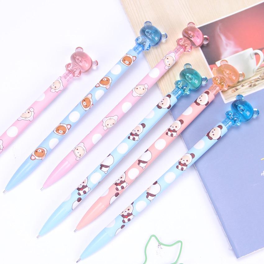 1PC 0.7MM Cute Kawaii Plastic Mechanical Pencil Lovely Bear Press Automatic Pen For Kid Gift School Supplies