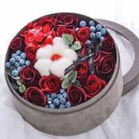 Original do presente Do Valentim vermelho flor rosa sabão banho de corpo na rodada caixa para o amigo da menina das mulheres dia das mães presente do dia Dos Namorados diy