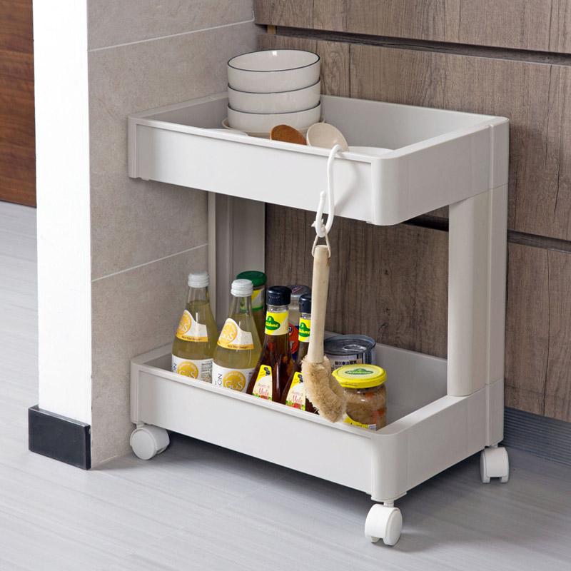 Kitchen Double Shelf Plastic Condiment Storage Shelf Bathroom ...