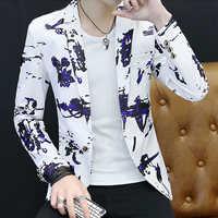 Блейзер с цветочным принтом, мужской Корейский тренд, уличная одежда, повседневный костюм, мужской облегающий блейзер
