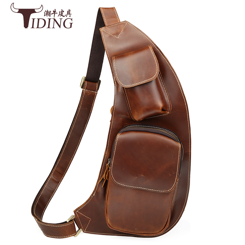 2017 new Men leather chest crossbody bag Casual men messenger bag high quality chest pack genuine leather messenger bag men