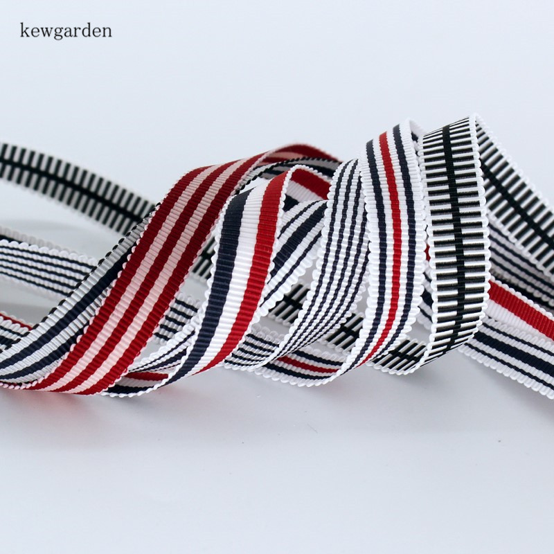 Kewgarden 3 4 quot 8 5 quot 3 8 quot Wavy Edge Stripe Grosgrain Ribbons Handmade Tape DIY Bowknot Satin Ribbon Garment Accessories 10 Yard in Ribbons from Home amp Garden