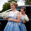 Short Bridesmaid Dresses 2017 Scoop Sleeveless V-Back Ankle-length Chiffon Top Lace Wedding Party Gown 2016 Bridesmaids Dress