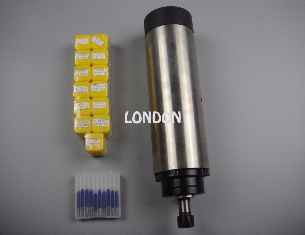 کیت اسپیندل CNC قطر ER11 قطر 65 mm 220V 0.8KW موتور اسپیندل خنک کننده هوا 4 یاطاقان + 13 قطعه کلاه های ER11 + بیت های حکاکی CNC