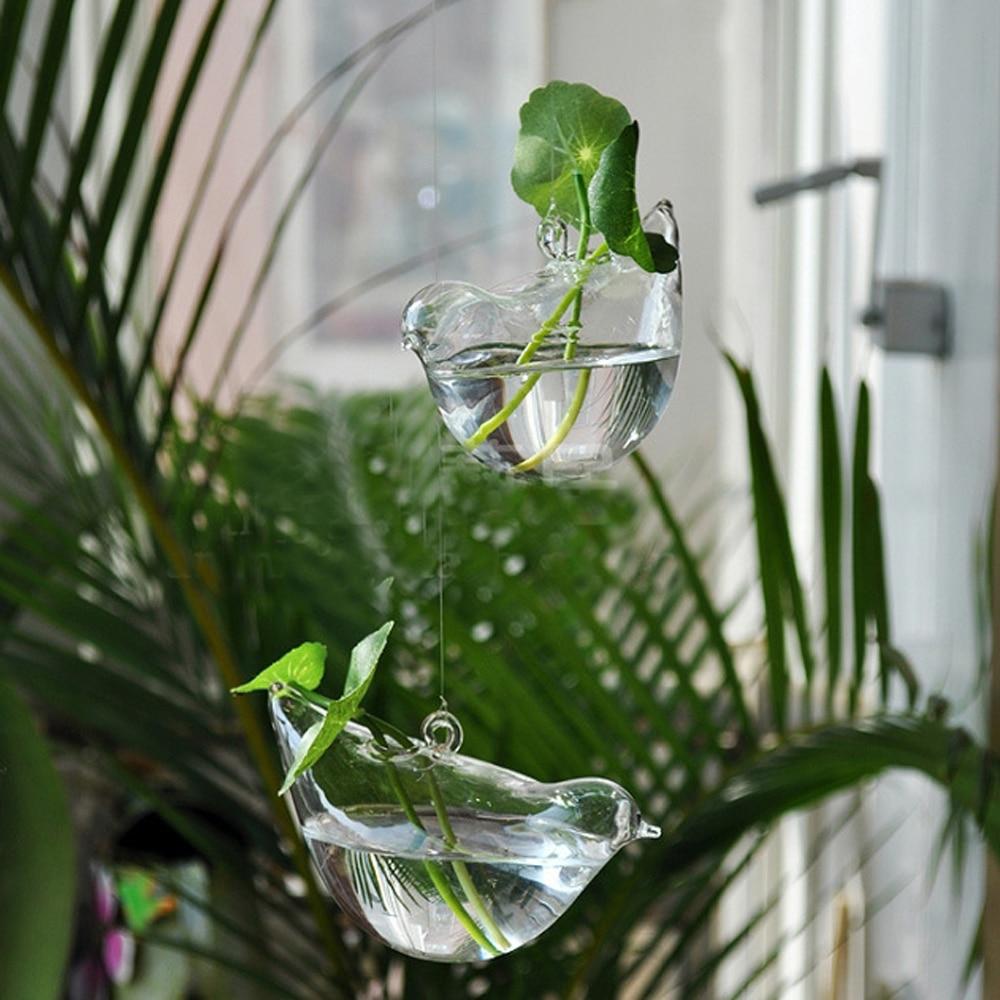 3 Pcs / lot Baru KEYAMA bentuk Burung kaca menggantung vas bunga - Dekorasi rumah - Foto 2