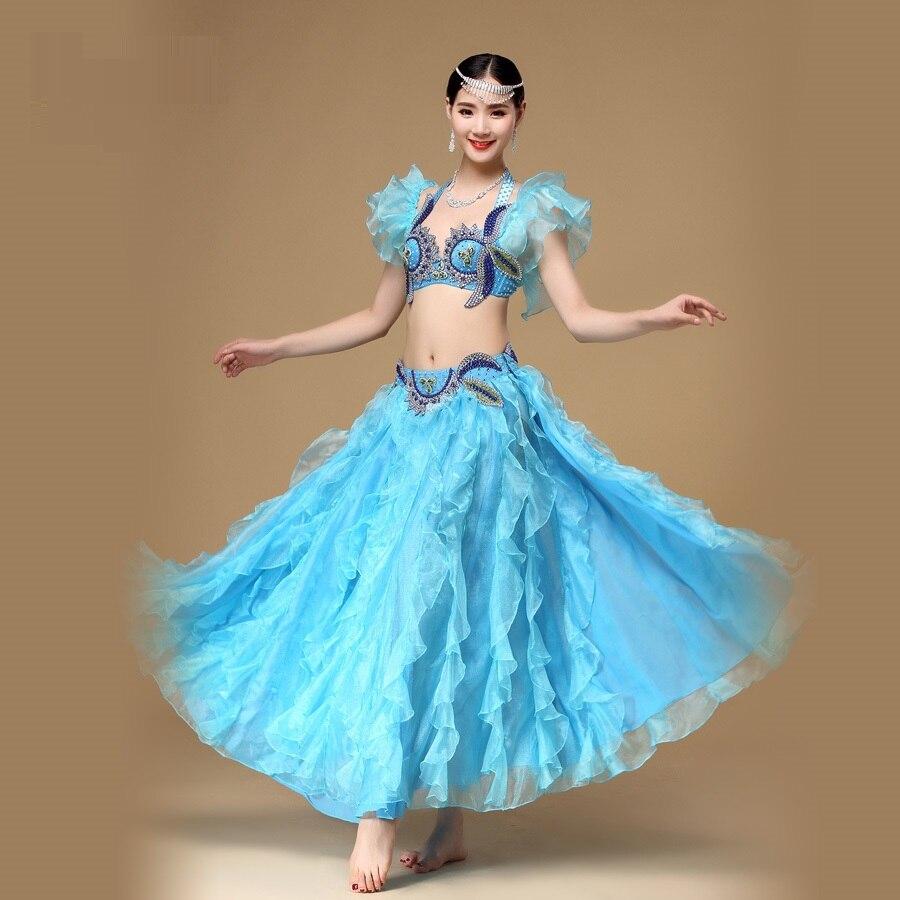 Леди Живот танцевальный костюм Топ и юбка танцевальная одежда для девушек новые живота юбка для танцев костюмы женский бюстгальтер Полный