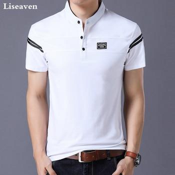 Liseaven Men's T Shirt 2018 Short Sleeve Mandarin Collar T-Shirt Tops & Tees Male Tshirts Men Clothing casual drawstring mandarin collar t shirt