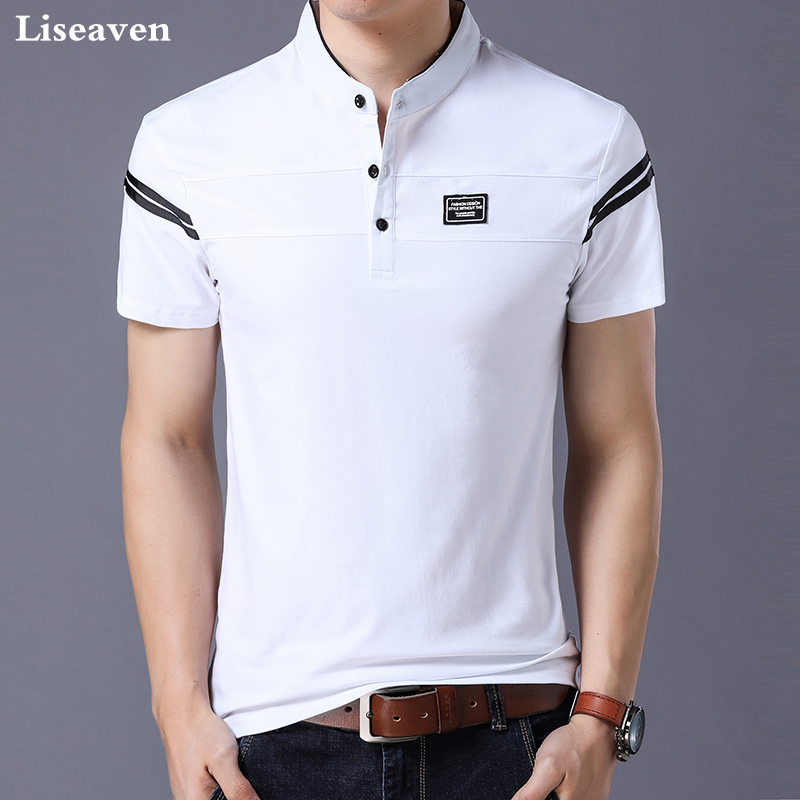 Liseaven Men's   T     Shirt   2018 Short Sleeve Mandarin Collar   T  -  Shirt   Tops & Tees Male Tshirts Men Clothing
