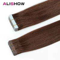 Alishow Tape In Remy Human Hair 20pcs/pack 16 24 Double Sided Natural Human Hair PU Hair Extensions Silky Straight Hair Weave