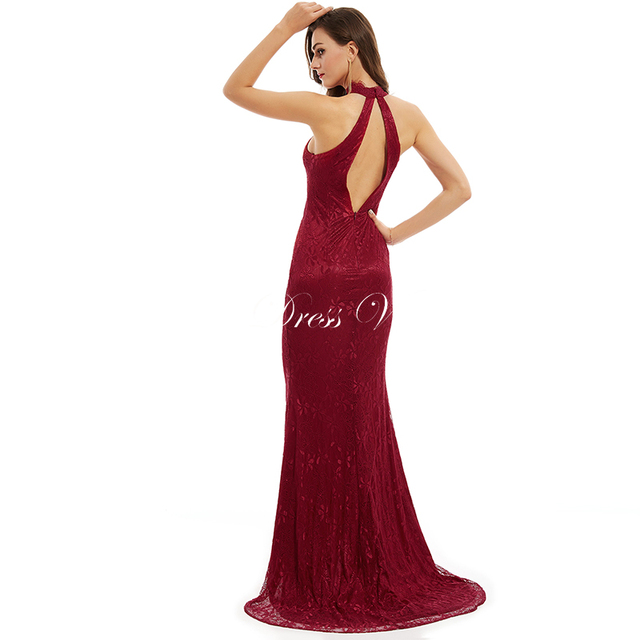 Dressv fuchsia lace long evening dress halter neck floor length sleeveless elelgant A line formal party women evening dresses