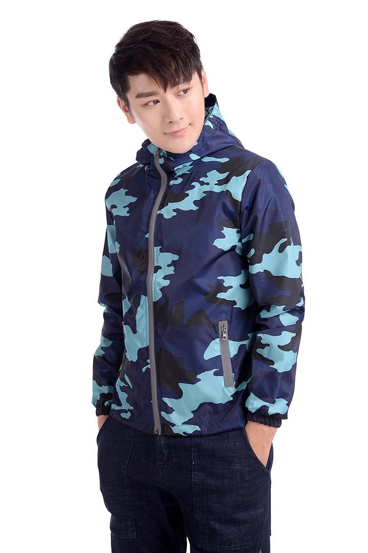 New 2018 Autumn hooded jacket men women Thin military jacket Fluorescent zipper Features windbreakers blue jackets dropshipping