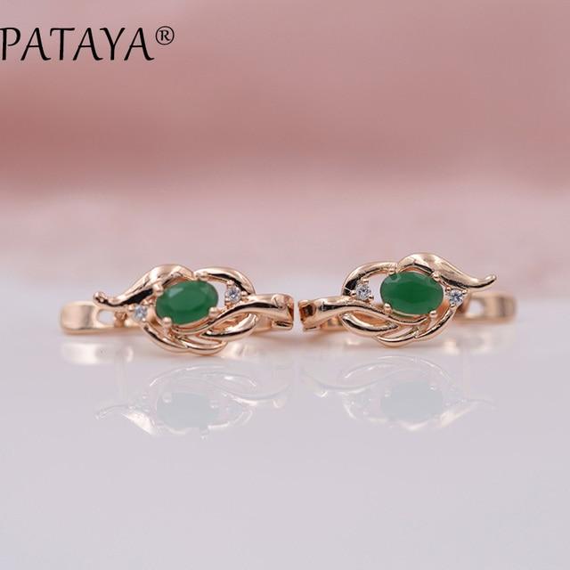 PATAYA New Arrivals 585 Rose Gold Green Oval Natural Zircon Vintage Dangle Earrings Women Fine Jewelry Short Eardrop Accessories
