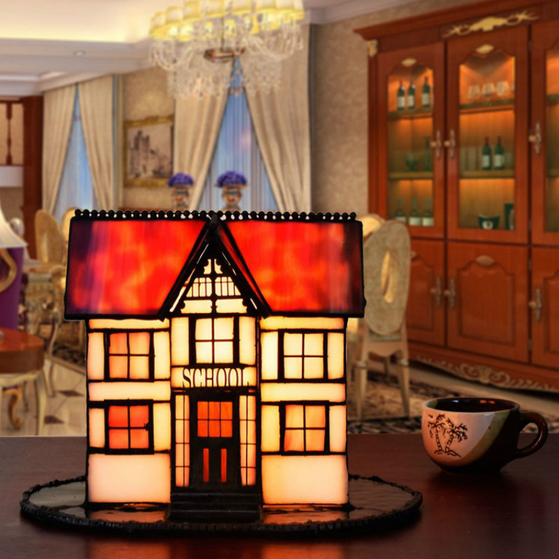 Lamparas Color Glass Led Table Lamp Hand Made Tiffany Desk: Exotic Tiffany Handmade Colorful Glass Small House Led E14