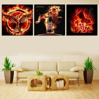 Abstract 3 Pcs Flamingo Definition Pictures Fire Wall Art Canvas Prints For Bar Decoration Modular Pictures