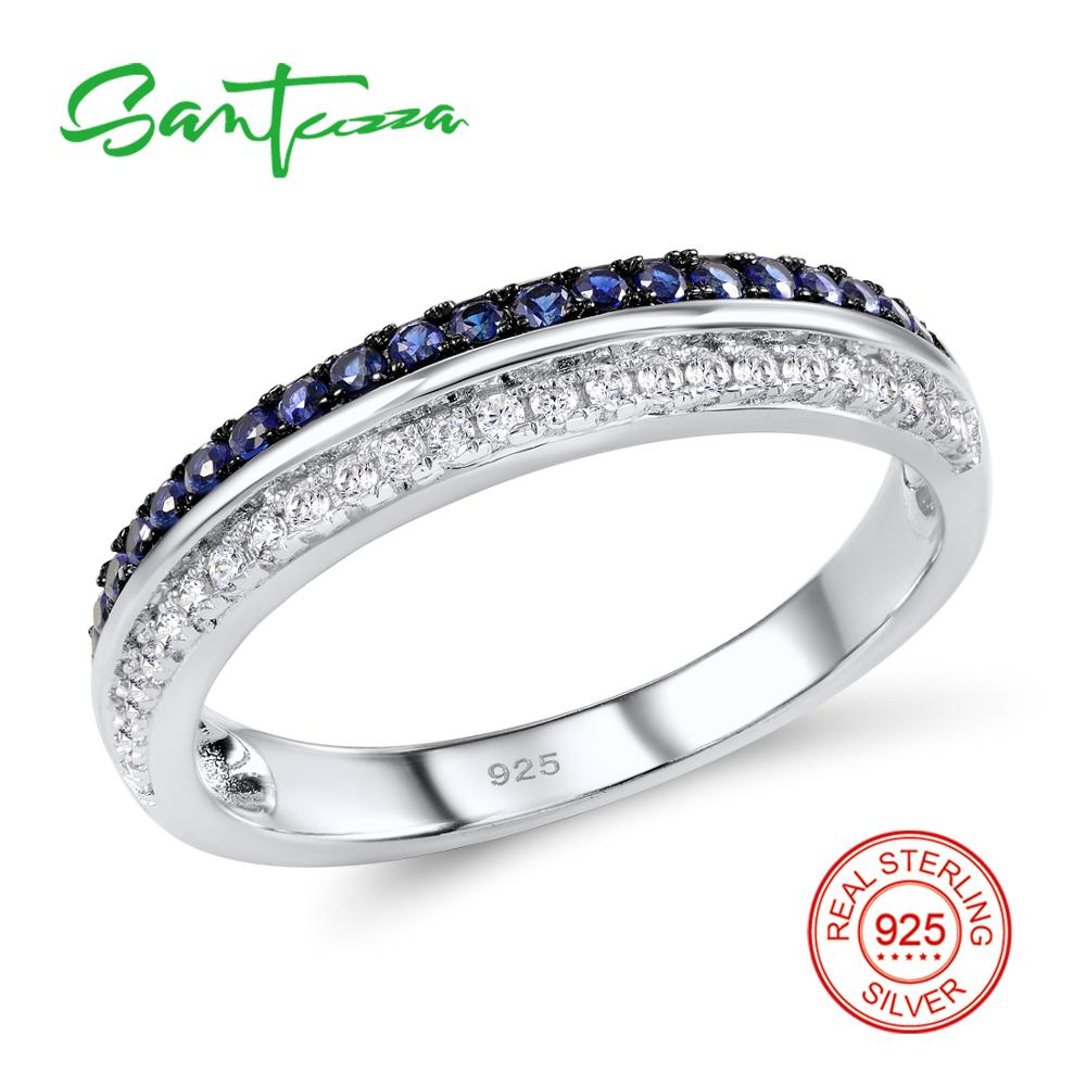цена на SANTUZZA Silver Ring For Women 925 Sterling Silver AAA+ Blue and White Cubic Zirconia Eternity Wedding Ring Fashion Jewelry