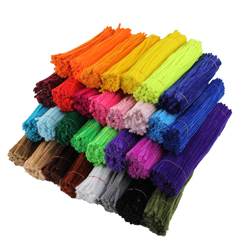 50pcs Chenille Stems Pipe Cleaners Kids Plush Stick Children's Educational Toys Handmade Art Materials Toys DIY Craft Supplies
