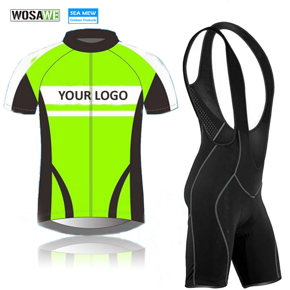 WOSAWE Custom Short Sleeve Cycling Clothing Women Men's Hidden Zipper Cycling Jersey with Bib Shorts Silicone Gripper US Size patrick велошорты cycling bib short for womam with tour shammy